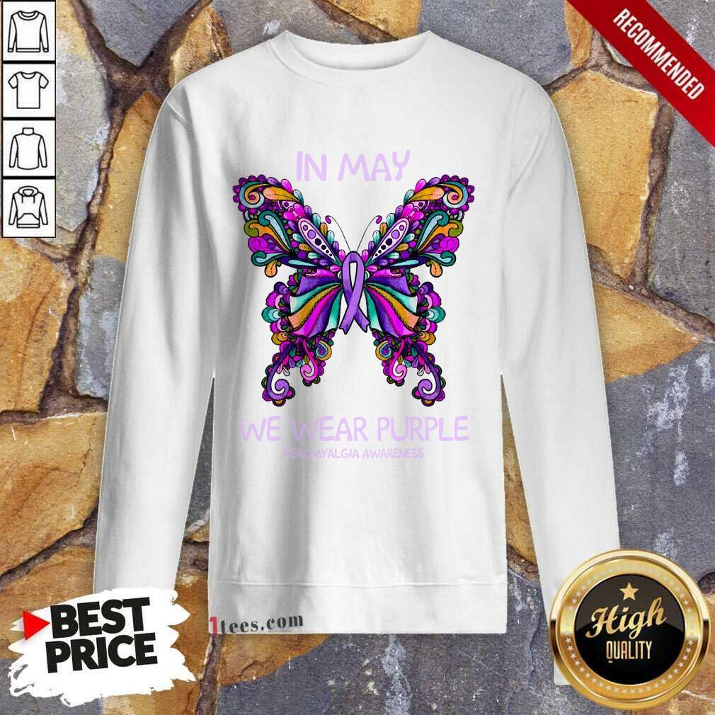 In May We Wear Purple Butterfly Sweatshirt
