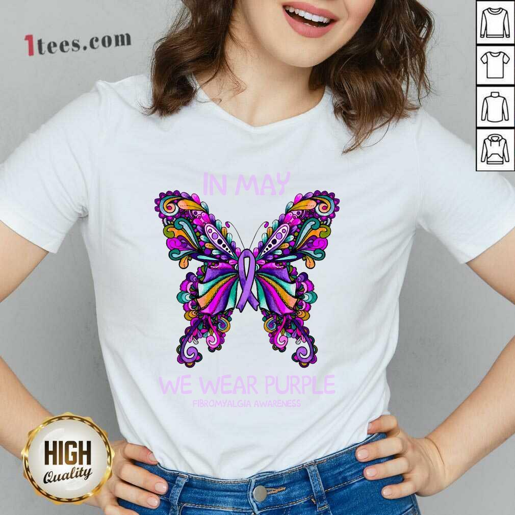 In May We Wear Purple Butterfly V-neck