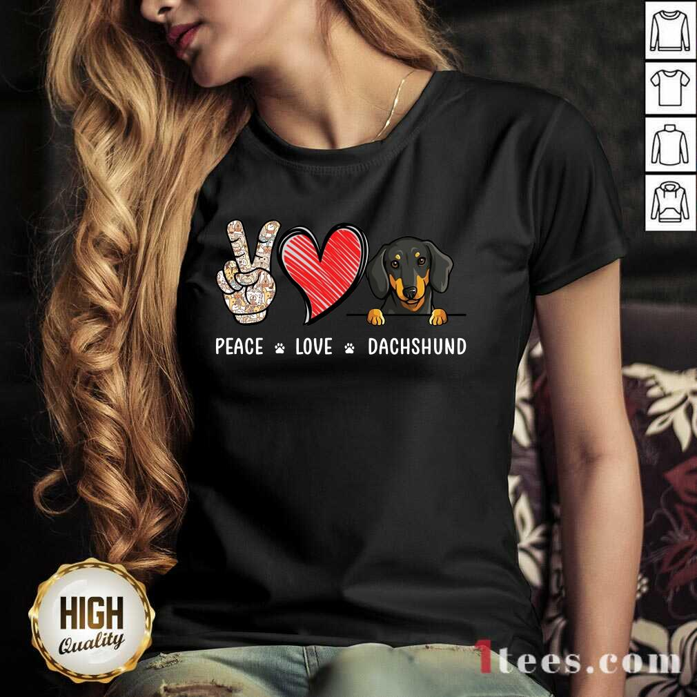 Peace Love Dachshund V-neck