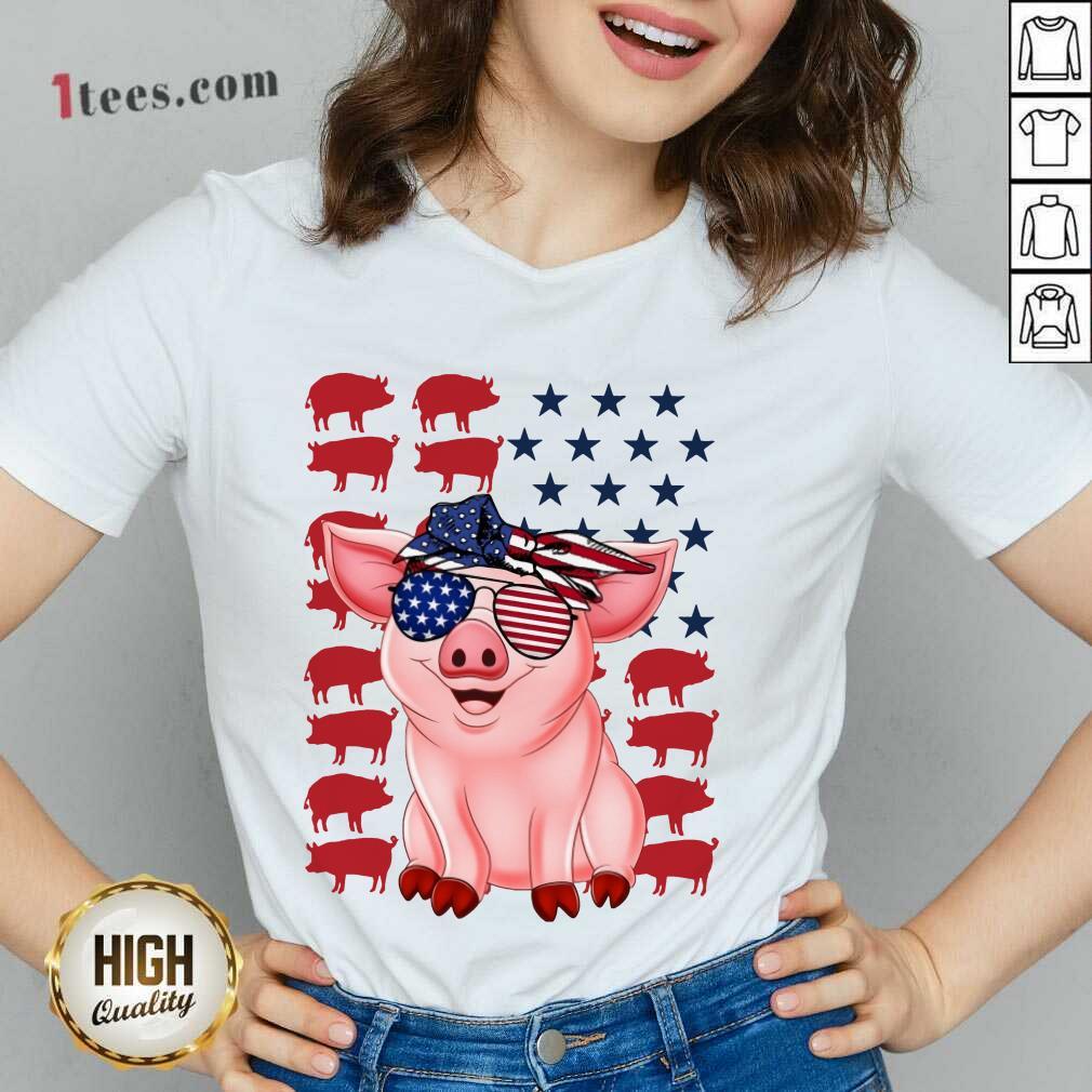 Pig American Flag Independence Day V-neck