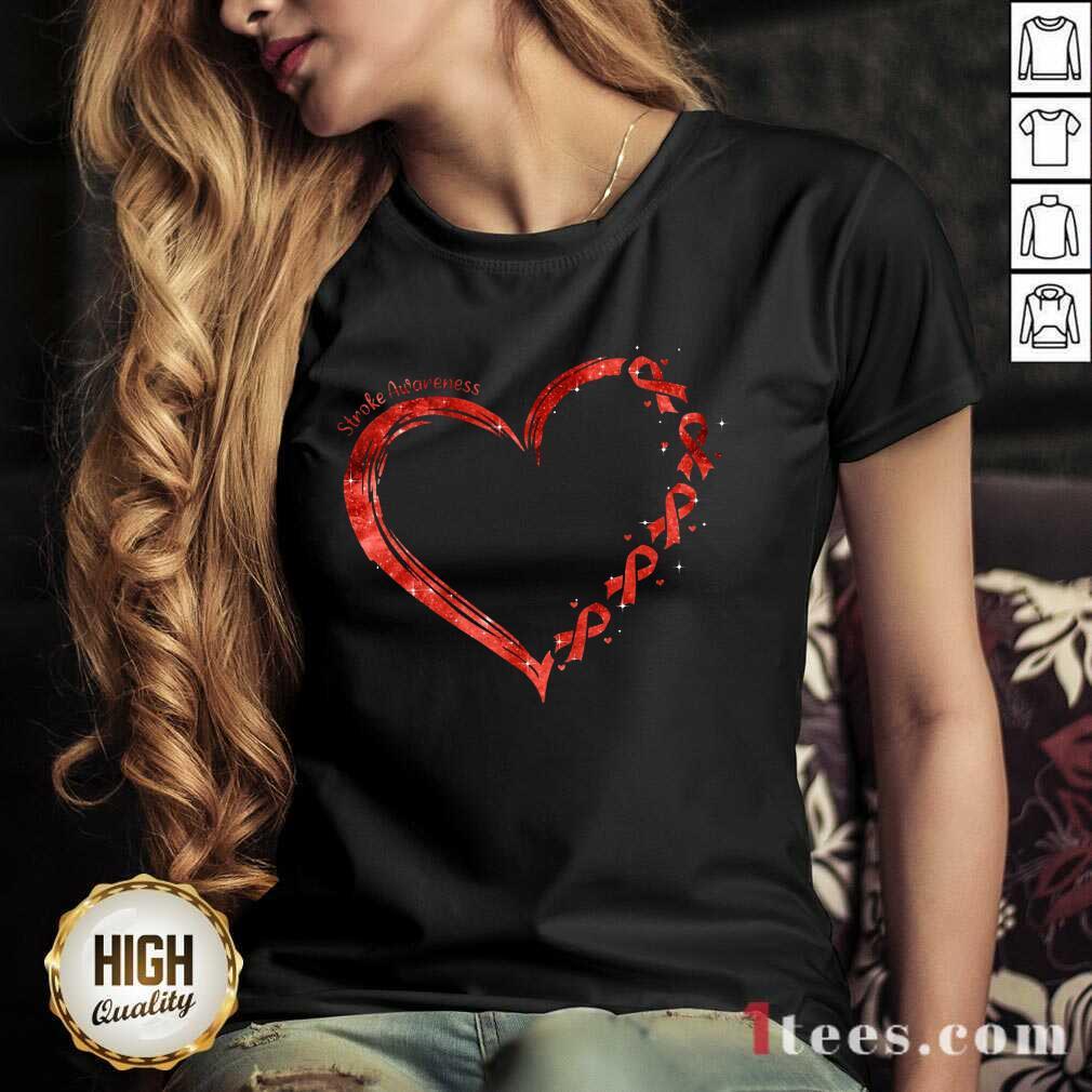 Stroke Awareness Heart V-neck