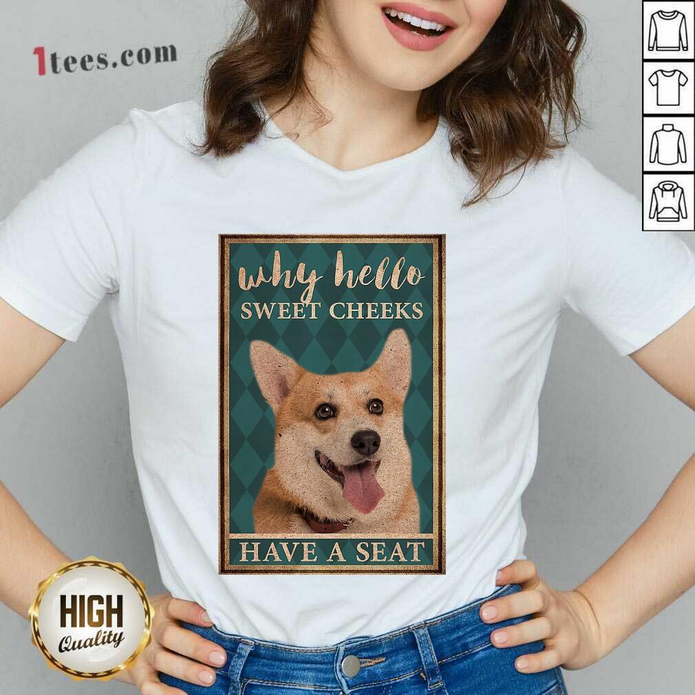 Why Hello Sweet Cheeks Coggy Dog V-neck