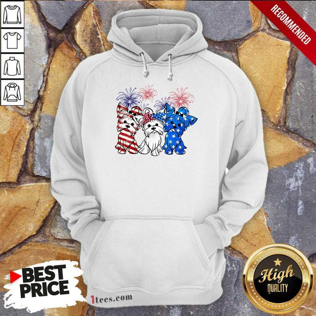 Yorkshire Terrier American Flag And Firework Hoodie