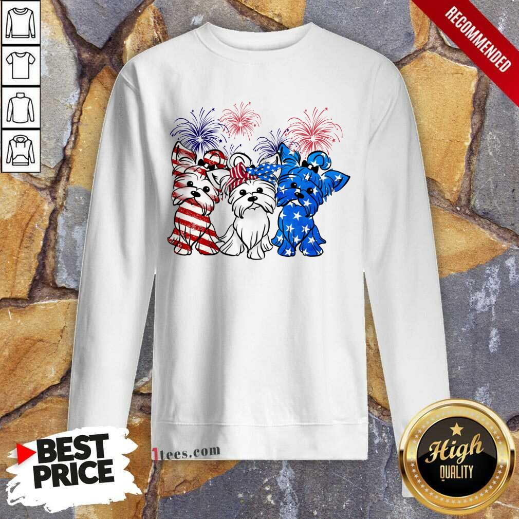 Yorkshire Terrier American Flag And Firework Sweatshirt