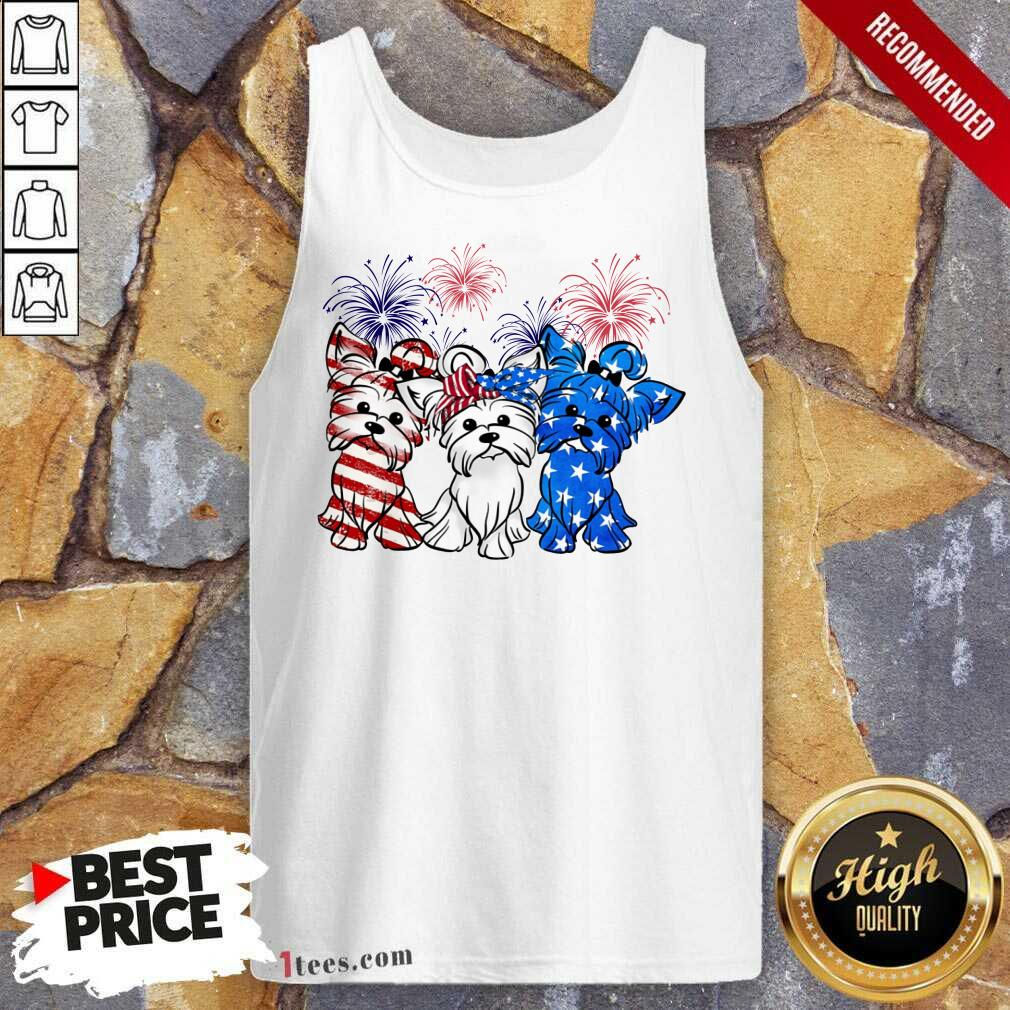 Yorkshire Terrier American Flag And Firework Tank Top