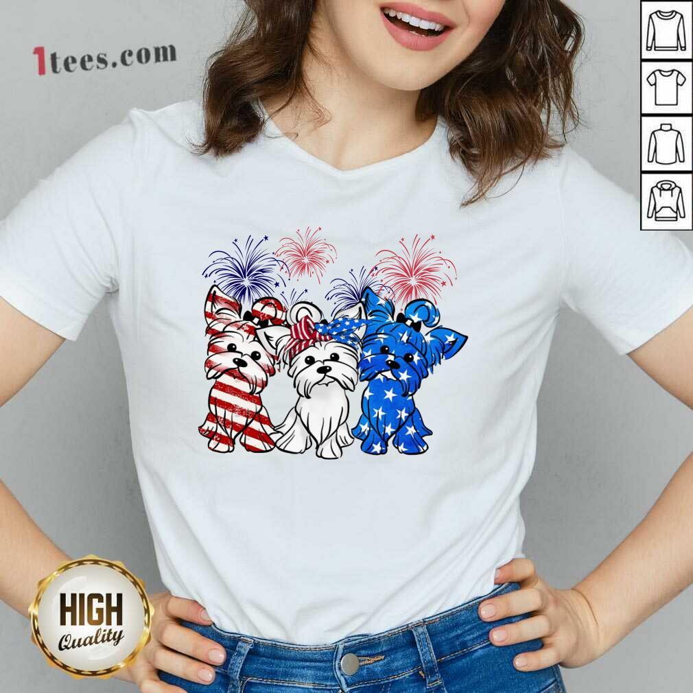Yorkshire Terrier American Flag And Firework V-neck