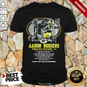 12 Aaron Rodgers Green Bay Packers 2005 Thank You For The Memories Signatures Shirt