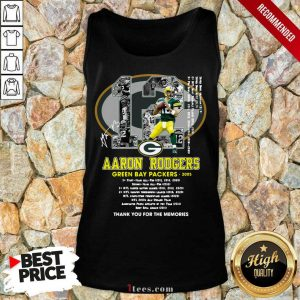 12 Aaron Rodgers Green Bay Packers 2005 Thank You For The Memories Signatures Tank Top