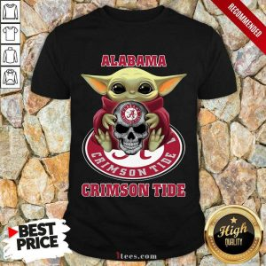 Baby Yoda Hug Alabama Crimson Tide Skull Shirt