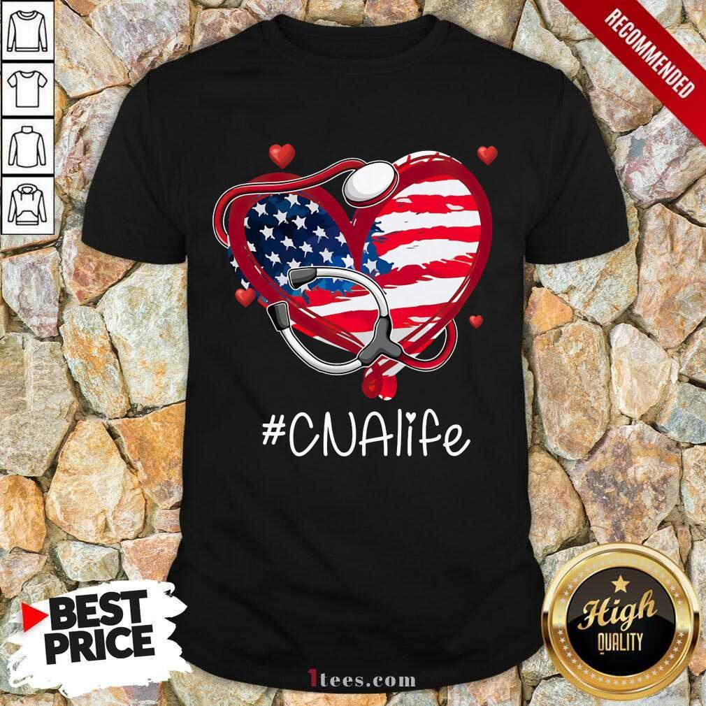 Heart American Flag CNA Life Shirt