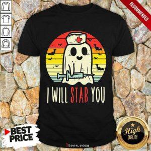 Boo Ghost Nurse I Will Stab You Halloween Vintage Shirt