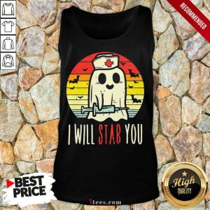 Boo Ghost Nurse I Will Stab You Halloween Vintage Tank Top